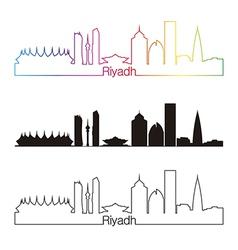 Riyadh skyline linear style with rainbow vector image