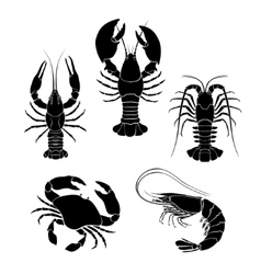 Set of the seafood crustaceans silhouettes vector image vector image
