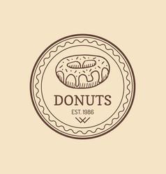 Vintage donut logo retro sweet bakery label vector