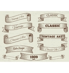 vintage labels and banners collection vector image vector image