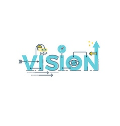 Vision word lettering vector image vector image