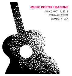 a guitar made of musical notes page template vector image