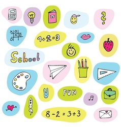 Back to school - freehand drawings of school items vector image vector image