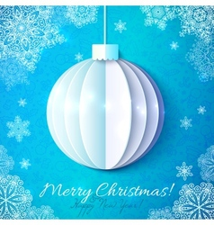 Blue cutout paper Christmas ball in origami style vector image
