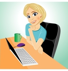 business woman at table with laptop vector image