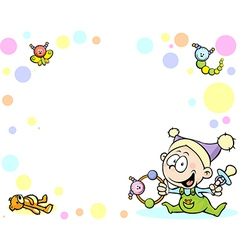Cool baby background with funny baby toys and vector