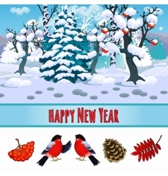 Forest winter landscape and bullfinches vector image