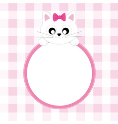 frame pink cat vector image vector image