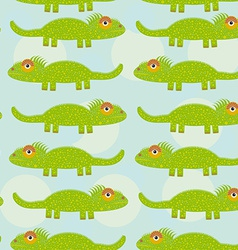 Funny green iguana Seamless pattern with cute vector image vector image