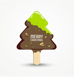 happy merry christmas ice cream vector image
