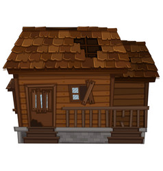 old wooden house in bad condition vector image vector image