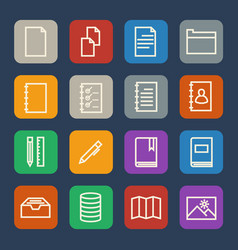 Simple documents and library icons set for vector