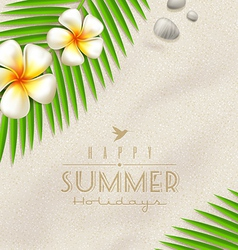 Tropical flowers and palm tree branches vector