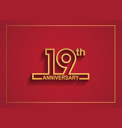 19 anniversary design with simple line style vector