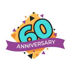 60 anniversary or birthday isolated festive icon vector