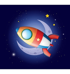 A rocket going to the moon vector