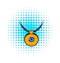 Amulet against evil eye icon comics style vector
