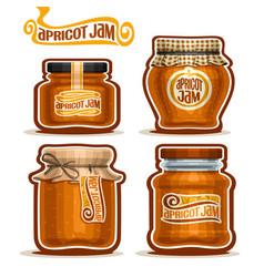 Apricot jam in glass jars vector