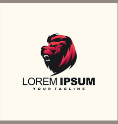 Awesome gradient lion logo design vector