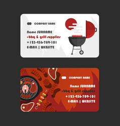 bbq and grill supplies business card design vector image