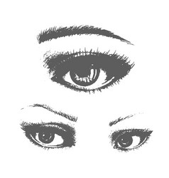 beautiful woman eyes ink drawing vector image