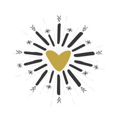 black and golden hand drawn heart sign and star vector image