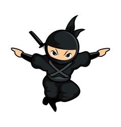Black cartoon ninja like eagle vector