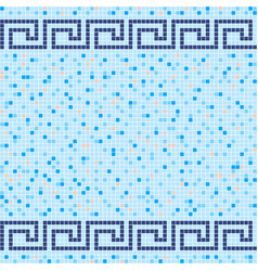 Blue and beige ceramic tile mosaic pattern vector