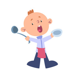 Boy chef cook with ladle and plate cute child vector