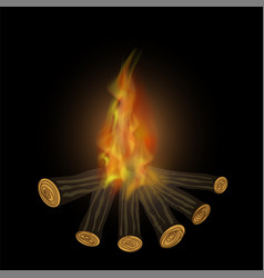 Burning bonfire and flames vector
