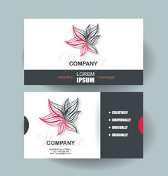 Business cards design with abstract red flower vector