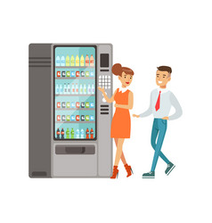 Business people standing next to automatic vending vector