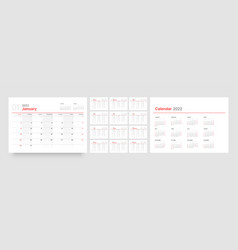 Calendar template for 2022 with week start on vector