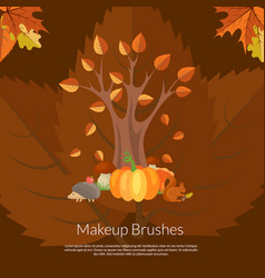 cartoon autumn elements and leaves vector image