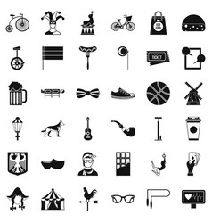 Circus bike icons set simple style vector