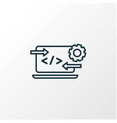 code optimization icon line symbol premium vector image