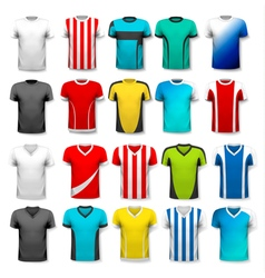 Collection various soccer jerseys the t-shirt vector