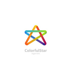 colorful star logo template infinite ribbon conce vector image