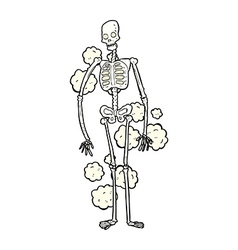 Comic cartoon dusty old skeleton vector