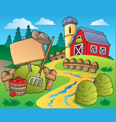 Country scene with red barn 5 vector