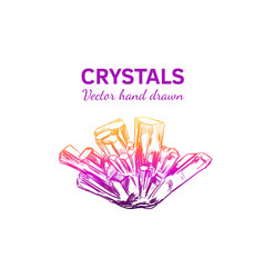 Crystals and minerals 3 vector
