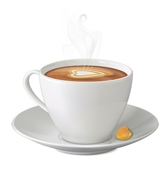 Cup of hot cappuccino with steam sweety and saucer vector