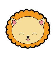 Cute lion face cartoon vector