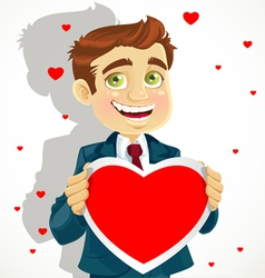 Cute man hold a valentine greeting Valentines day vector image