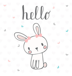 Cute postcard with funny rabbit card with hello vector