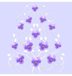 Decorative tree with violet flowers vector image