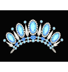 Diadem crown feminine form kokoshnik with blue sto vector
