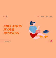 education website landing page student study at vector image