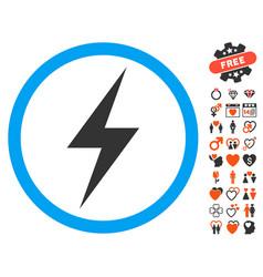 Electricity symbol icon with valentine bonus vector