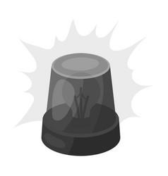 Emergency rotating beacon light icon in monochrome vector